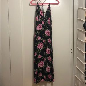Black with pink floral maxi dress